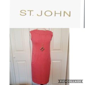 ST.JOHN Collection Knit Pink Sleeveless Dress
